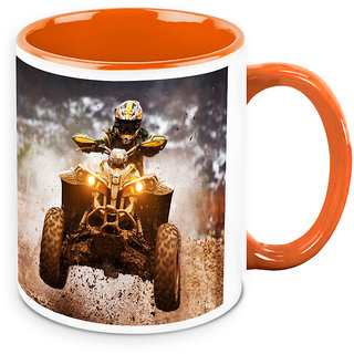 Homesogood Automobile Used In Dirt Racing White Ceramic Coffee Mug - 325 Ml