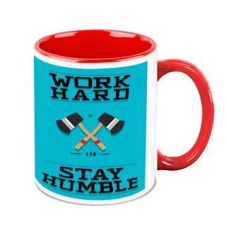 Homesogood Work Hard Stay Humble Office Quote White Ceramic Coffee Mug - 325 Ml