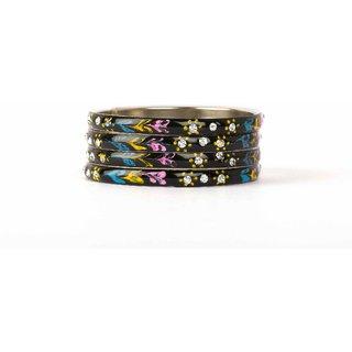 Black flower handwork meenakari bracelets