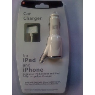 Brand New Hi Quality Car Charger For Apple Iphone3G 3GS 4G 4S & All Ipod Ipad 3 months Seller Warranty & Retail Invoice 2 Claim Warnt