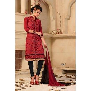 Trendz Apparels Cream Chanderi Cotton Silk Straight Fit Salwar Suit