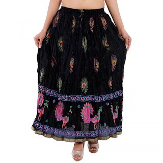 Black Color Rajasthani Printed Cotton Regular Fit Long Skirt