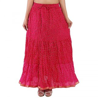 Rajasthani Bandeg Polka Dots Pink Color Printed Ethnic Cotton Long Skirt