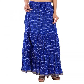 Rajasthani Bandeg Polka Dots Blue Color Printed Ethnic Cotton Long Skirt