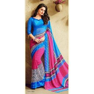 sareemall Blue, Pink Designer Printed Saree with Matching Blouse 14ZR8002