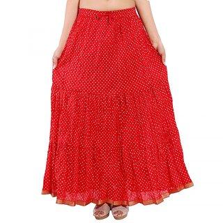 Rajasthani Bandeg Polka Dots Red Color Printed Ethnic Cotton Long Skirt