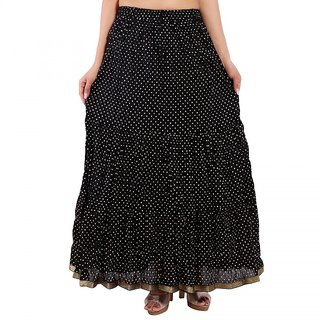 Rajasthani Bandeg Polka Dots Black Color Printed Ethnic Cotton Long Skirt