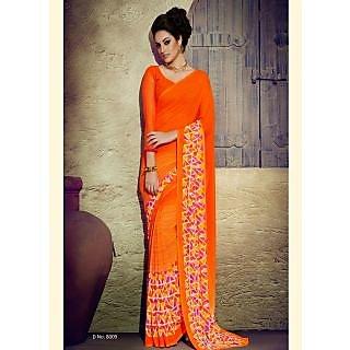 sareemall Orange Designer Printed Saree with Matching Blouse 14ZR8009