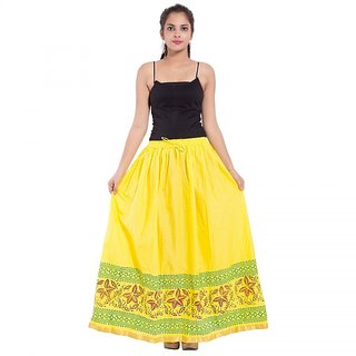 Yellow Color Rajasthani Jaipuri Plain Cotton Regular Fit Long Skirt