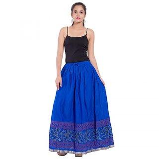 Blue Color Rajasthani Jaipuri Plain Cotton Regular Fit Long Skirt
