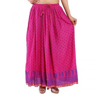 Jaipuri Design Pink Plain Cotton Long Skirt