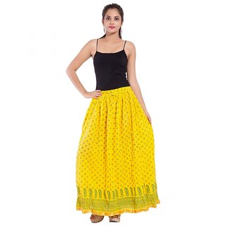 Jaipuri Design Yellow Plain Cotton Long Skirt