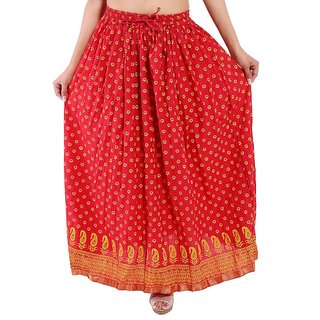 Jaipuri Design Red Plain Cotton Long Skirt