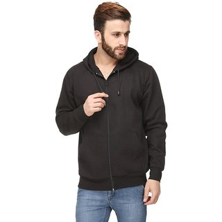 Mens Black Full sleeve Plain Hoodies With Pocket