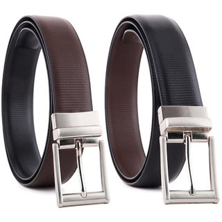 Aleron Men Black Brown Artificial Leather Reversible Belt Combo