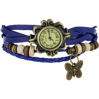 Grabito Round Dial Blue Leather Strap Analog Watch For Women