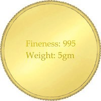 e Gitanjali 5 GM 24KT 995 Purity Plain Gold Coin BIS Hallmarked