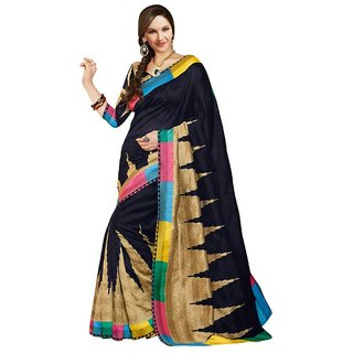 Party Wear Bhagalpur Designer Saree  Black Print
