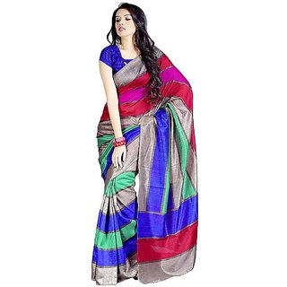 Fashion Star Sarees Multi Bhagalpuri Silk Saree