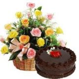 Cake With Basket Bouquet Of Beautifull Flowers 256226