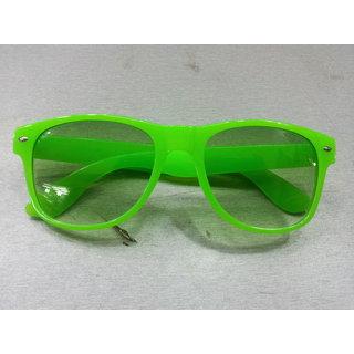 Clear Neon Green Wayfarer Sunglasses Unisex