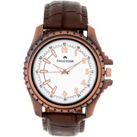 Swisstone Brown Leather Strap Analog Watch For Men/Boys- ST-GR010-WHT-BRW