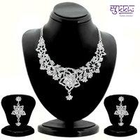 Sukkhi Eye-Catchy Rhodium plated AD Stone Studded Necklace Set