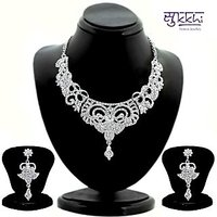 Sukkhi Silver Others Silver Plated Necklace Set For Women
