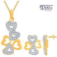 Sukkhi Estonish Gold and Rhodium Plated Imported CZ Pendant Set