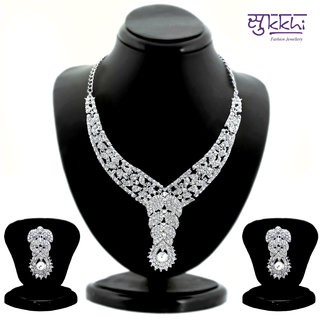 Sukkhi Magnificent Rhodium Plated AD Stone Studded Necklace Set