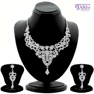 Sukkhi Youthful Rhodium plated AD Stone Studded Necklace Set