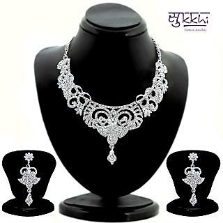 Sukkhi Bewitching Rhodium Plated AD Stone Studded Necklace Set