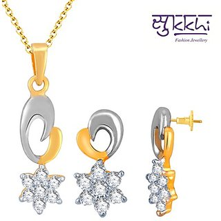 Sukkhi Stunning Gold and Rhodium Plated Imported CZ Pendant Set