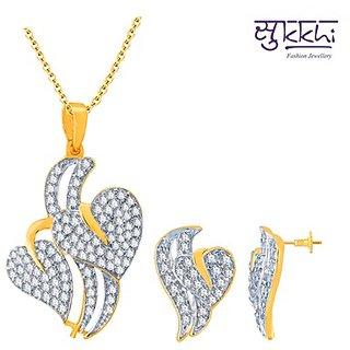 Sukkhi Splendid Gold and Rhodium Plated Imported CZ Pendant Set