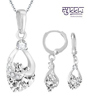 Sukkhi Attractive Rhodium Plated Imported CZ Pendant Set