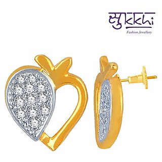 Sukkhi Eye-Catchy Gold and Rhodium Plated Imported CZ Earring