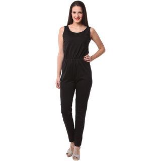 Fashionexpo Black Art Silk Plain Jumpsuits For Women