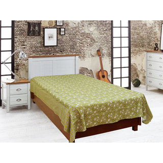 Akash Ganga Green Single Diwan Bedsheet (Diwan11)