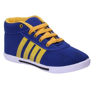 Men's Blue And Yellow Ankle Length Casual Shoes
