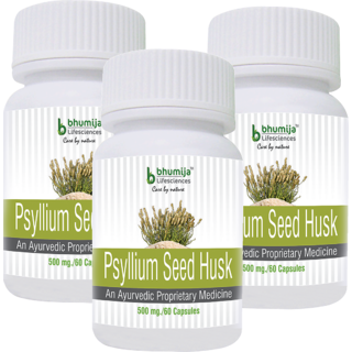 Psyllium Husk (Isabgol) Capsules 60s - Relief from Constipation (Pack of Three)