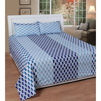 Home Castle 154-TC Cotton Premium Designer Double Bedsheet With 2 Pillow Covers