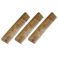 Prakrita Handicraft Wide And Fine Tooth Comb Made of Neem Wood (Pack of 3)
