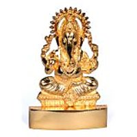 Gold Plated Ganeshji Idol - Suitable For Car Or Home