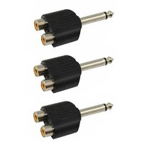 6.3MM (P-38) Mono Male To 2 RCA Female Connector - Plastic Molded  - Pack Of 3