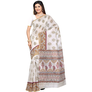 Fabdeal White Colored Cotton Printed Saree (VIUSR1017MR)