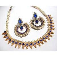 Dark Blue Pearl Leaf Tilak Polki necklace set