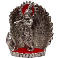 Spiritual Handicraft White Metal Antique Lord Krishna On Naag Idol 165