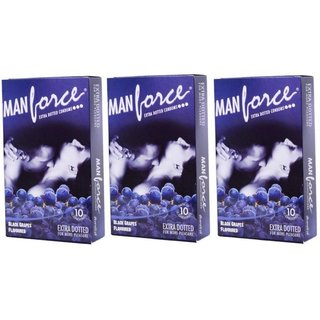 Manforce Extra Dotted Blackberry Condoms Monthly Combo - 30 Pieces
