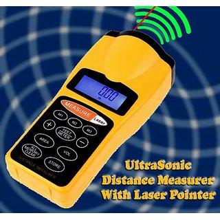 New LCD Ultrasonic Laser Meter Pointer + Distance Measurer Range 60FT