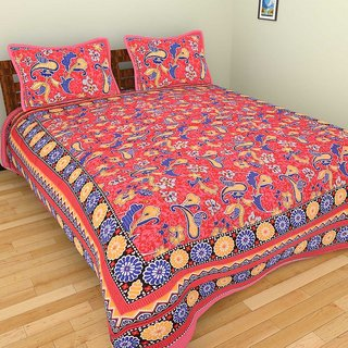 GRJ India Pure Cotton Paisley Print Double BedSheet With 2 Pillow Covers
